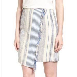 Halogen Fringe Faux Wrap Pencil Skirt Size 14